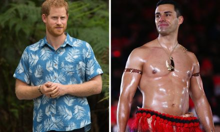 Prince Harry Palled Around With Tonga's Famously Oiled-Up Olympic Flag Bearer