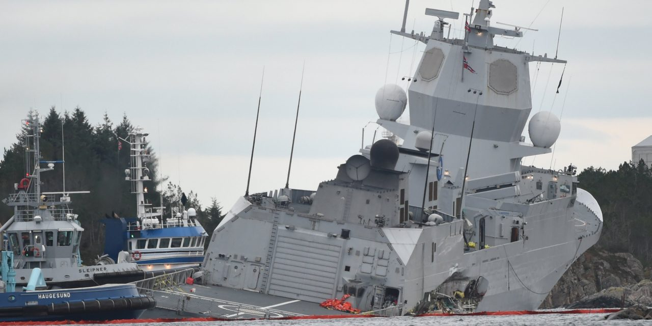 Norwegian Warship Could Sink After Being Rammed by Tanker