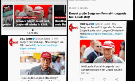 Bild.de entlässt verstorbenen Niki Lauda aus dem Krankenhaus