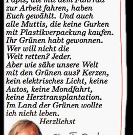 """Franz Josef Wagner will gern und nicht im """"Land der Grünen"""" leben"""