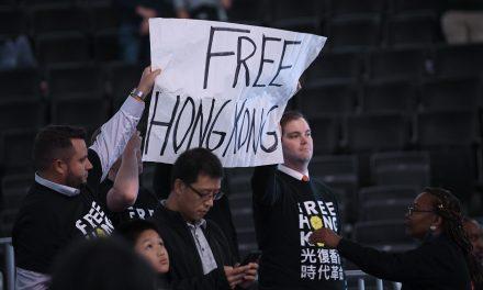 Protesters Hand Out 'Free Hong Kong' Shirts at Wizards Game