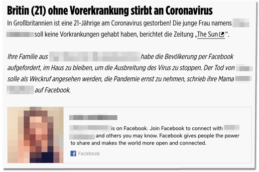 Bild.de verlinkt Facebook-Profil einer Verstorbenen